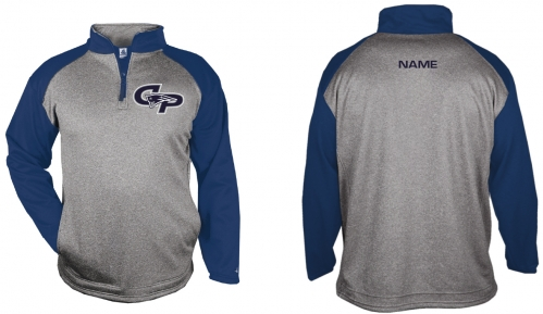 1I - Adult Steel Heather/Navy Badger 1/4 Zip Sweatshirt